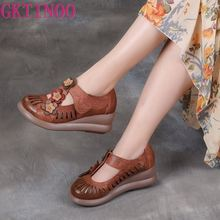 GKTINOO Women Gladiator Sandals Genuine Leather Hollow Wedges Sandals