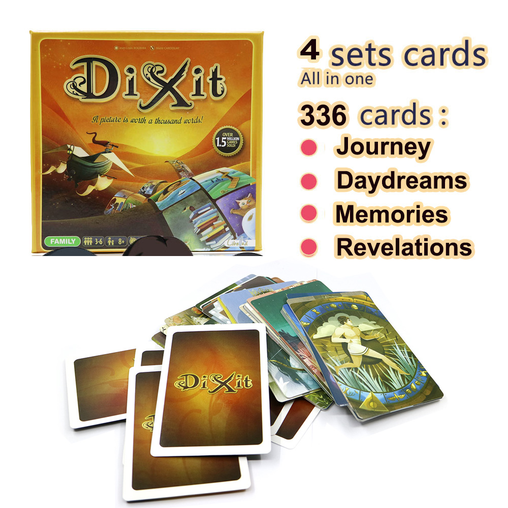Dixit 5+6+7+8 Board Game For Kids Fun 336 Cards Wooden Rabbits Toys For Home Party Table Game Russian & English Cards Game