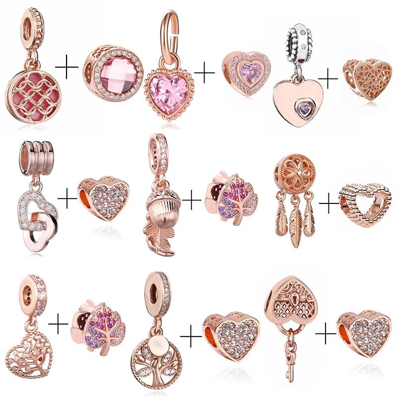 CHIELOYS 2 шт./лот хрустальные подвески из розового золота DIY Новые бусины короны подходят к оригинальному бренду Браслеты и ожерелья подвеска д...
