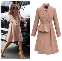 Rubilove Women 2019 Long Turn-down Collar Leisure Single Breasted Coats Womens Solid Simple All-match European Style Elegant Chi