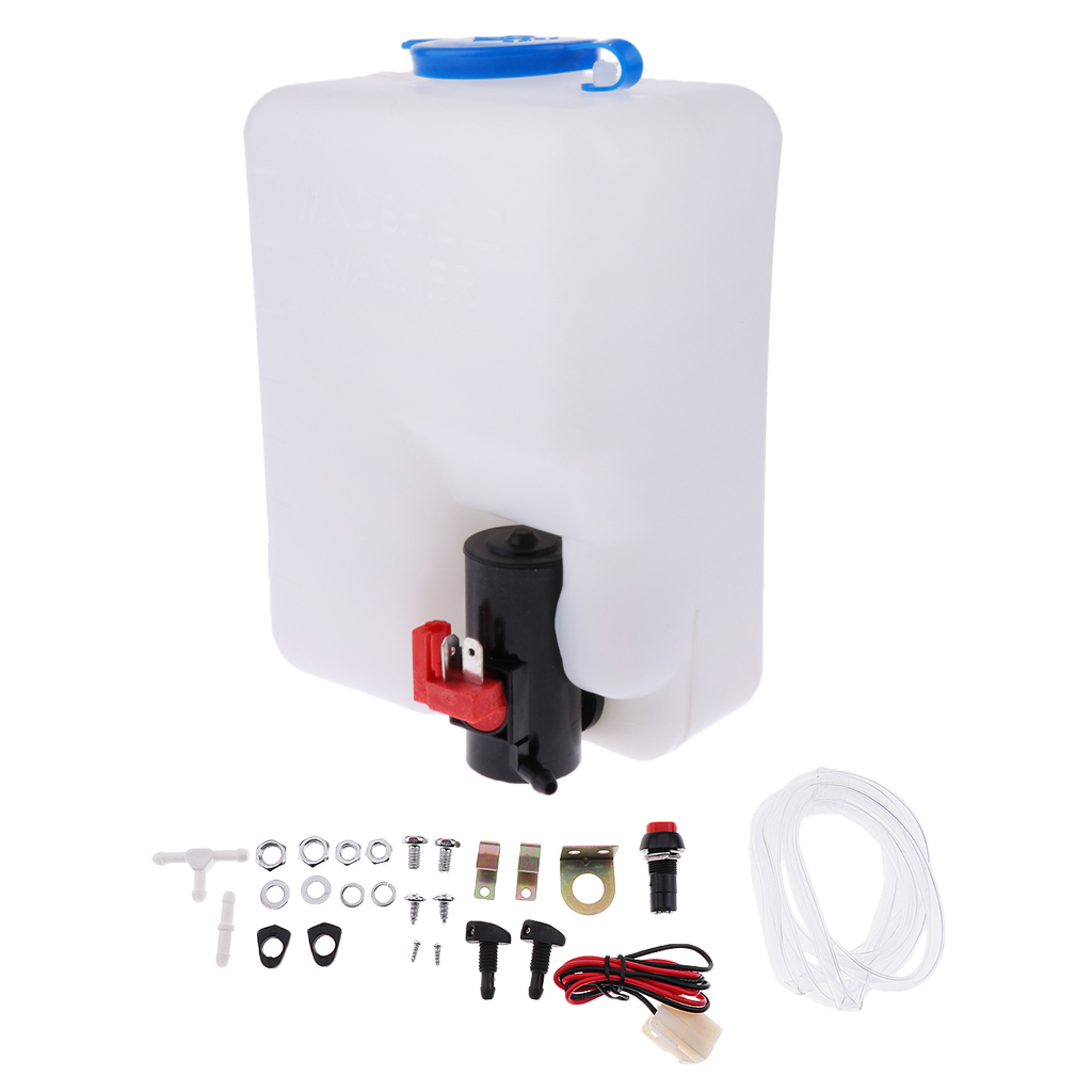 Universal 12V  Windshield Wiper Washer Fluid Bottle Windscreen Water Reservoir Tank Hose Jet Switch Full Set