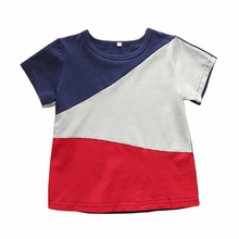 1-6Y Toddler T Shirts Kids Boys Shirt for Short Sleeve Blue+Gray+Red Children Tees