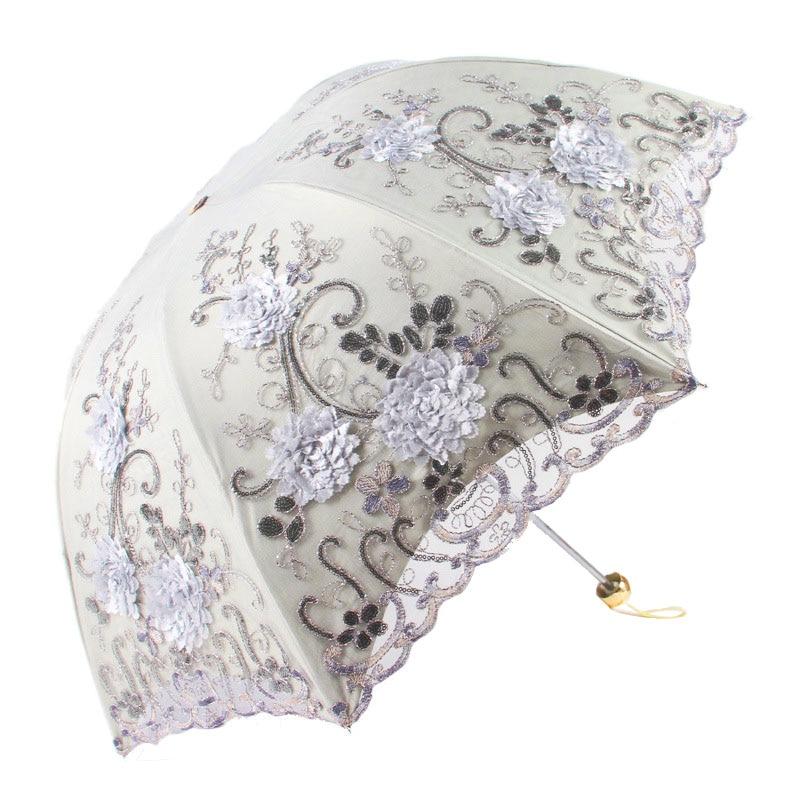 1PC Embroidered Lace Double Layer Anti-UV Sun Parasol Folding 3D Flower Embroidery Multi Color Umbrella