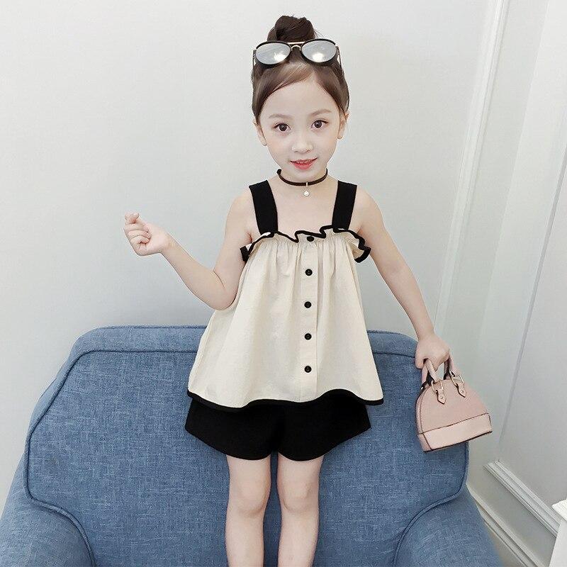Crianças conjunto de roupas de verão 2019 novo estilo verão fora do ombro médio e grande meninas moda cor sólida ocidental sty - 2