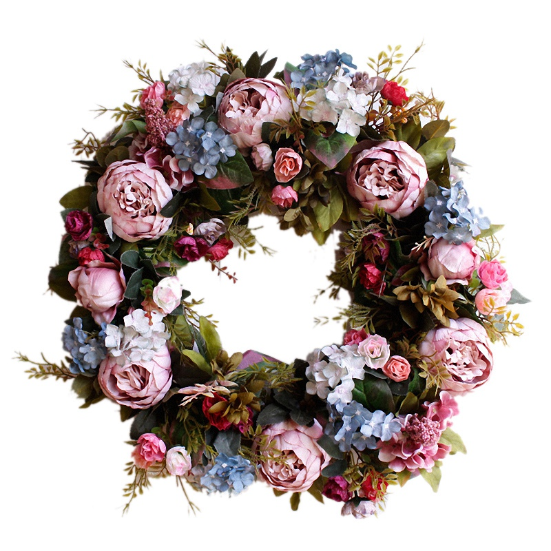 53cm Door Wreath Large Garland Artificial Flower Wreath Wall Hanging Door Decoration Home Decoration Farmhouse Decor image