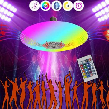 Smart Ceiling LED Lamp Musical RGB Light with Bluetooth Speaker, E27 Base, APP & Remote Control, Indoor Party Lighting