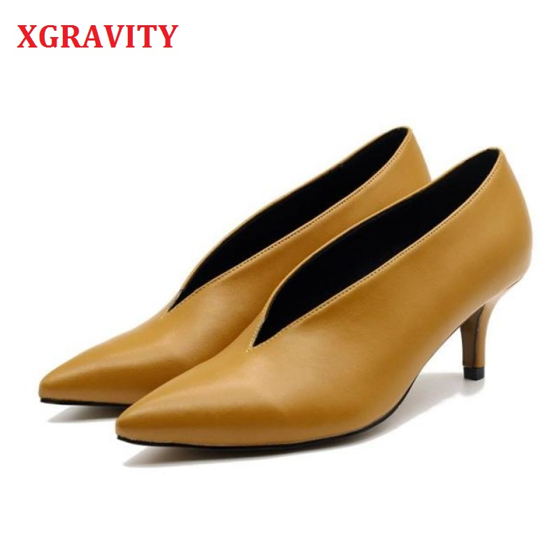 XGRAVITY 2020 Pop Star Pointed Toe Girl Thin Heel Woman Shoes Deep V Design Lady Fashion Shoes Elegant European Women Shoes C264