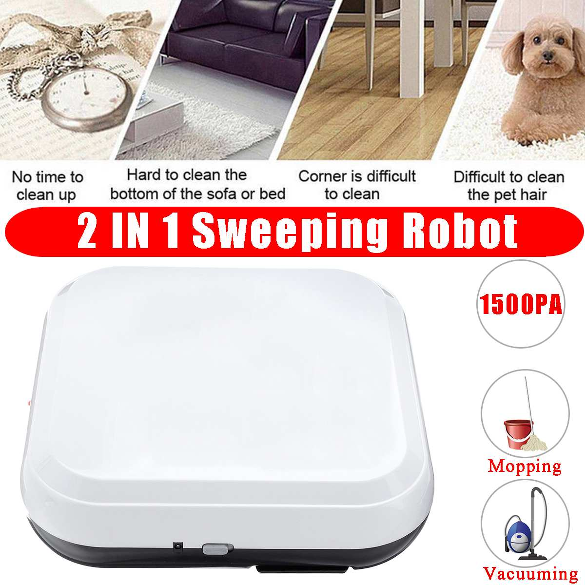 1500pa Multifunctional Robot Vacuum Cleaner 2-In-1 Automatic Smart Home Sweeping Robot Mini Cleaning Machine