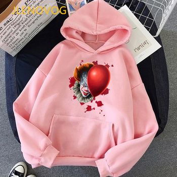 vogue Clown Custom halloween Pennywise pink hoodies women clothes 2020 funny IT Movie sudadera mujer autumn winter tracksuit