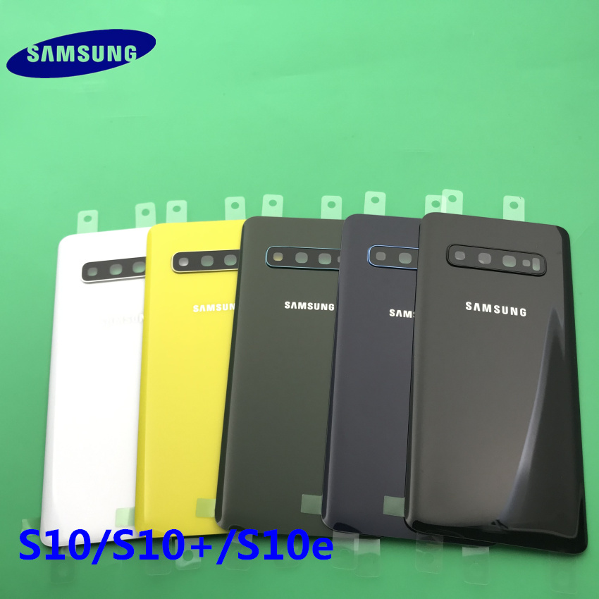 Replacement Original Rear Panel Battery Glass Back Door Cover Samsung Galaxy S10e S10 S10+plus ear Camera Glass Lens Frame