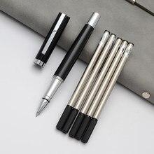 Caneta gel clássica preta e azul, caneta esferográfica de tinta 0.5mm, recarga de papelaria para negócios e escritório, 1 peça transporte de gota