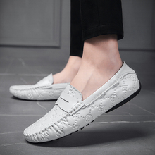 Leather Shoes Men White Slip On Shoes Ca
