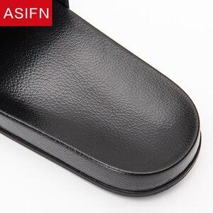Image 4 - ASIFN Summer Home Men Slippers Simple Black White Non slip Bathroom Slides Flip Flops Indoor Women Platform Shoes Beach Slippers