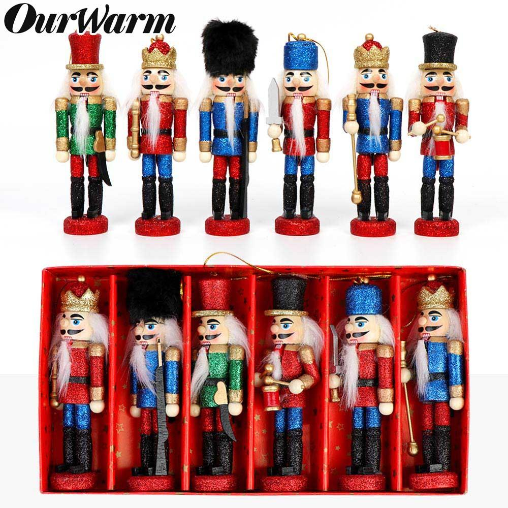OurWarm 6pcs Christmas Russia Wooden Nutcracker Doll Tree Ornament Hanging New Year Gifts Party Decorations