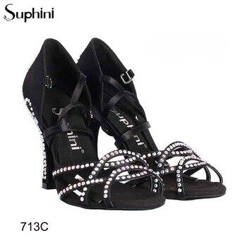 Hot Sale 10cm Latin Salsa Dance Shoes Black Satin Suphini Factory Classic Design Soft Sole Latin Dance Shoes
