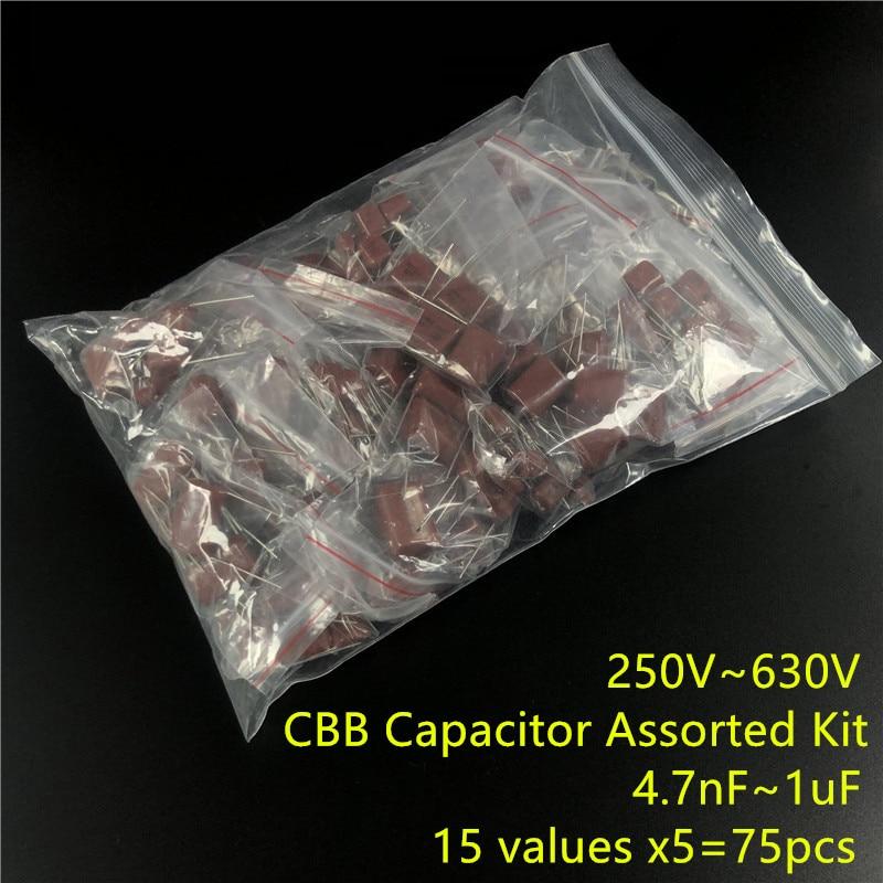 CBB Capacitor Assorted Kit,Sample Bag,15ValuesX5PCS=75PCS,250V 400V  630V, 472 To 105 ,No Polarity AC Capacitor