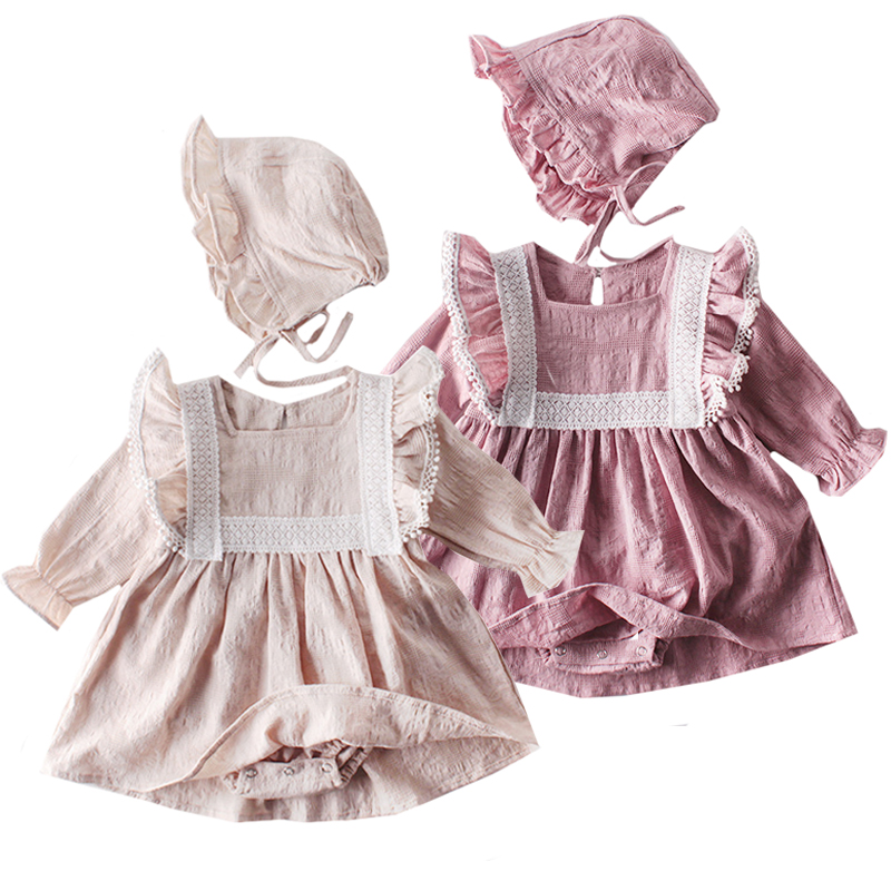 2020 New Baby Girls Clothes Spring Baby Romper Girl Long Sleeve Infant Newborn Baby Clothes Lace Princess Birthday Party Clothes