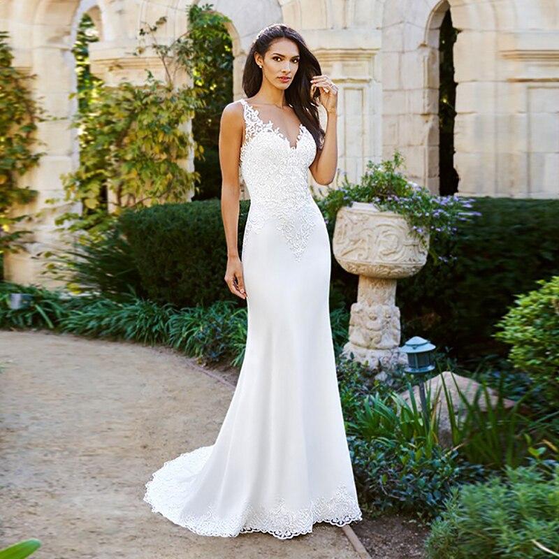 Eightale Boho Wedding Dress Mermaid Appliques Lace V-Neck Chiffon Custom Made Backless Bohemian Wedding Gowns Vestido De Noiva