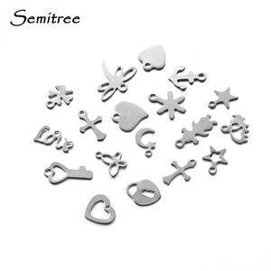 Semitree 50 шт. Маленькая подвеска в виде сердца из нержавеющей стали, фурнитура для ожерелья, браслета, цепочки для изготовления украшений