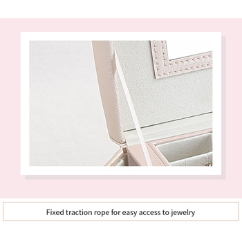 High Quality Jewelry Box Large Capacity Leather Storage Jewelry Box Earring Ring Necklace with Mirror