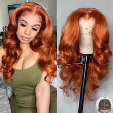 Волнистые Имбирно-оранжевые парики на сетке 180%, парики из человеческих волос, прямые бразильские волосы без повреждений, T-образные волосы н...