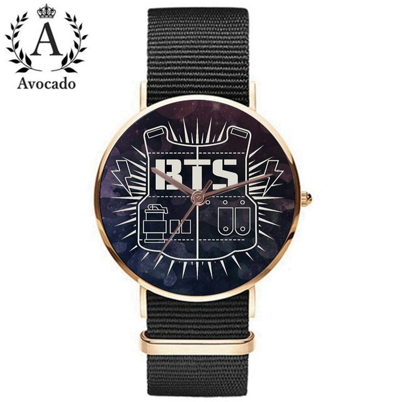 Avocado Canvas Simple Bts Bulletproof Youth Watch Watch Casual Fashion Star Quartz Wristwatch Clock Kids Gift