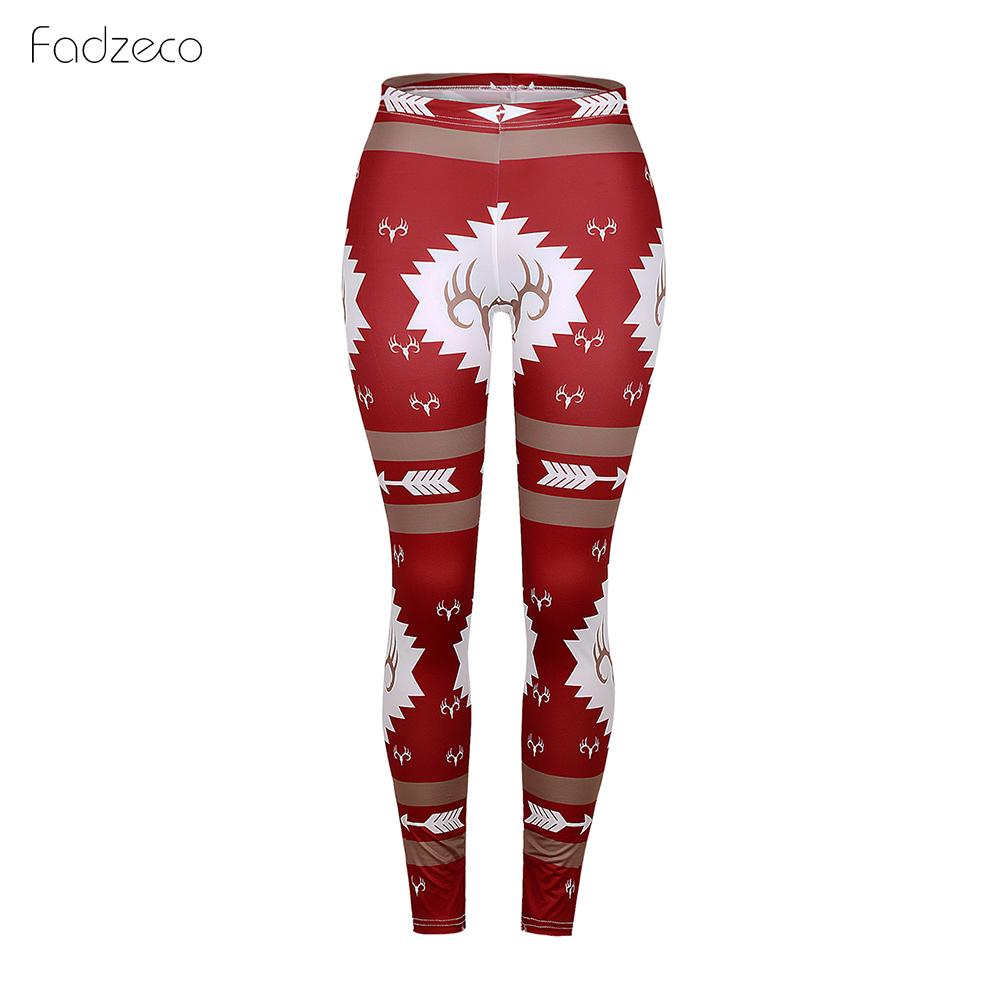 FADZECO Women's Autumn Leggings Girl Winter Legging Bottoms Snowflake Christmas Deer Print Leggings Women Clothing Jeggings
