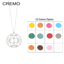 Cremo Round Leather Pendant Necklace Long Chain Necklaces & Pendants Stainless Steel Interchangeable Jewelry