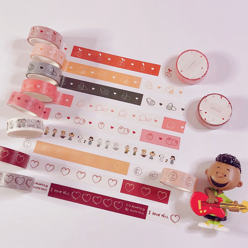 Ins Style Washi Tape Stickers Cute Cartoon Snoopys Love Heart Avocado  Decoration For Scrapbooking Masking Tape School Supplies
