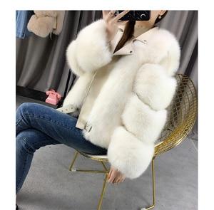 Image 5 - Zdfurs * 輸入キツネの毛皮のパッチワーク両面毛皮モト & バイカーコート女性2020革の毛皮のオーバーコート