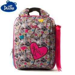 Delune 7-125 حقيبة مدرسية جميلة القلب ثلاثية الأبعاد نمط الأطفال مدرسة حقيبة ظهر للفتيات الكرتون على ظهره كتاب Mochila Escolar
