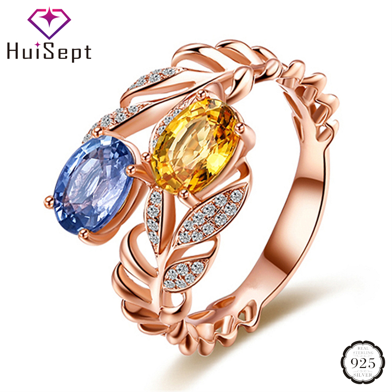 HuiSept Trendy 925 Silver Ring Jewelry Colorful Oval Topaz Zircon Gemstone Olive Leaf Shape Rings for Female Wedding Party Gift
