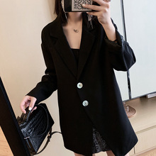 2019 New Joker Shell Buckle Slim Black Suit Jacket Woman Notched Single Breasted Long Women Jackets and Coats