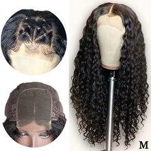 Глубокая волна бразильский парик 4*4 закрытие шнурка парик человеческих волос парики предварительно выщипанные с детскими волосами Remy средний коэффициент 150% плотность парик шнурка