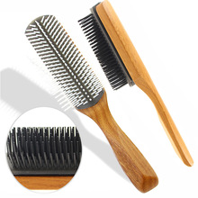 Cushion-Brush Comb Rows 9 Massage Wooden Anti-Static Styling Black