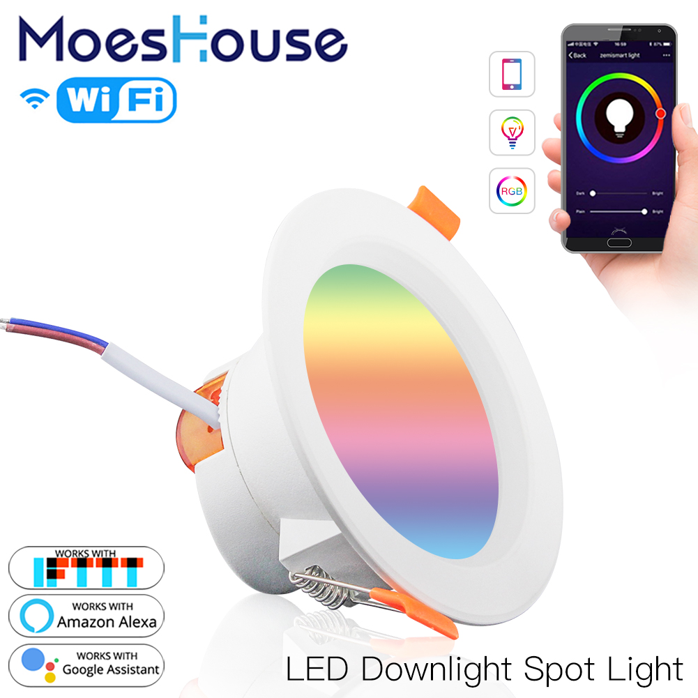 WiFi Smart LED Downlight Dimming Round Spot Light  7W RGB Color Changing 2700K-6500K Warm Cool Light Work With Alexa Google Home