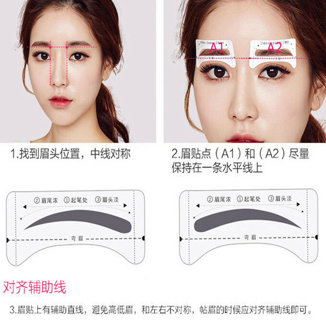 8Pairs Template Eyebrow Drawing Card Stickers Brow Stencil Make Up Grooming Tool 3