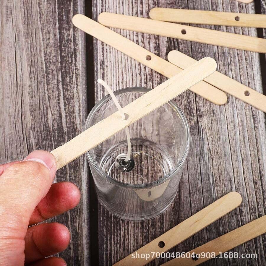 100 pçs vela pavio suportes de madeira reutilizáveis vela wicks centrando dispositivo de fixação caseiro diy velas material ferramentas