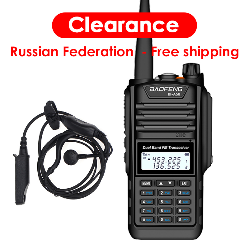 Baofeng BF-A58 Waterproof Two Way Radio Dual Band UHF VHF 5W CB Ham Radio LCD Display FM Transceiver 128CH Scanner Woki Toki