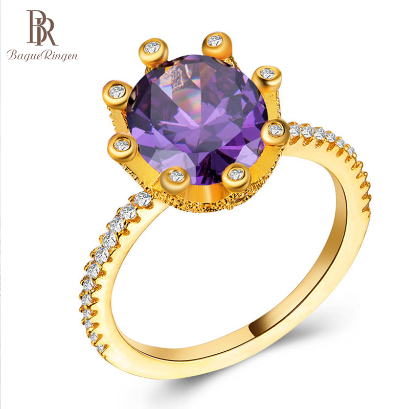 S925 Ring Jewerly Gemstone Sterling-Silver Amethyst Gifts Wedding Women's Fashion Party