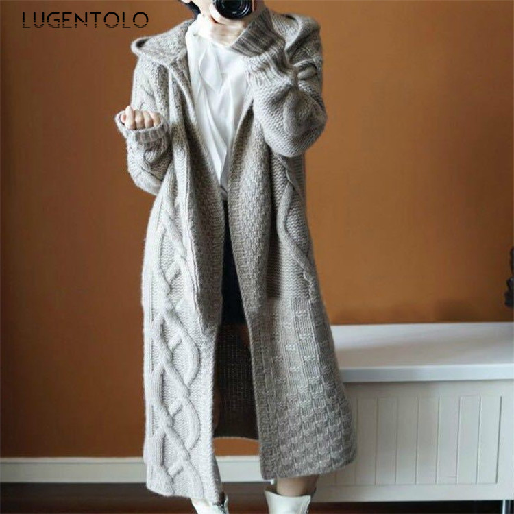 Lugentolo Women Sweater Cardigan Autumn Winter Hooded Long Sleeve Winter New Solid Color Loose Korean Cozy Lady Long Sweaters