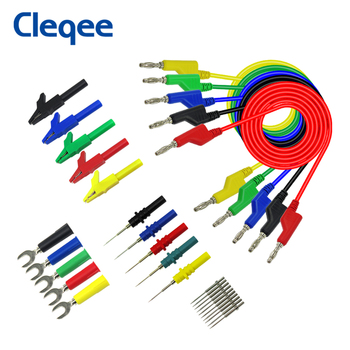 tl470g 10pcs 1500mm high flexible silicone test leads with 32a 600v retractable stackable 4mm banana plug soldering type Cleqee P1036B 4mm Banana to Banana Plug Test Lead Kit for Multimeter Match Alligator clip U-type & puncture test probe kit