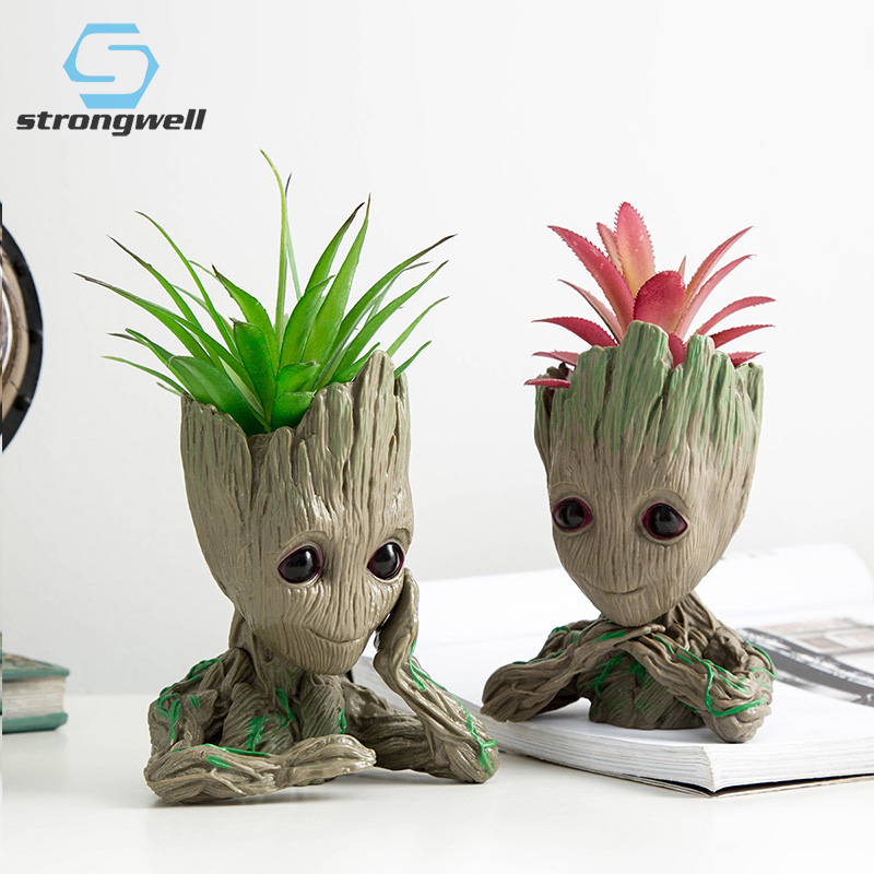 Strongwell Resin Groot Flower Pots For Garden Planters Cartoon Statue Cute Groot Bonsai Pots Succulent Plant Pot Flowerpot