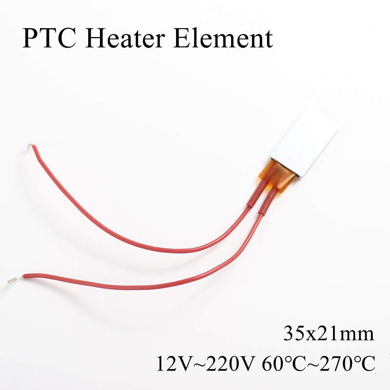 35x21mm 12V 24V 36V 48V 110V 220V PTC Heater Element Constant Thermostat Thermistor Air Heating Sensor Aluminum Shell 35*21mm