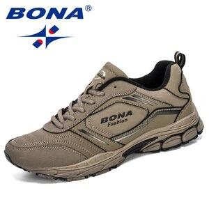 Image 5 - Мужские кроссовки из коровьего спилка BONA, черные дизайнерские кроссовки для бега, спортивная обувь, 2019