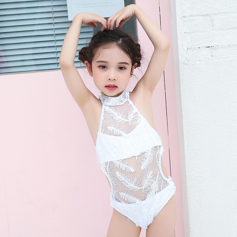 Fairy Baby White With Feather CHILDREN'S Swimsuit Sweet One-piece Triangular GIRL'S Girls Parent And Child Swimwear Mother-daugh