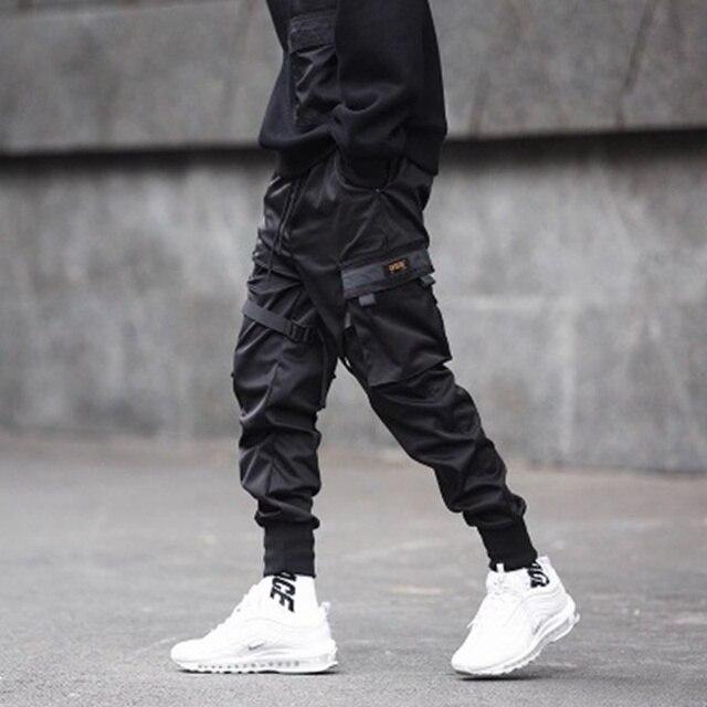 Ribbons Cargo Pants Men  Casual Streetwear Harajuku Pants Hip Hop Trendy casual youth slim pants  Stylish Men's Jogger Trousers 34