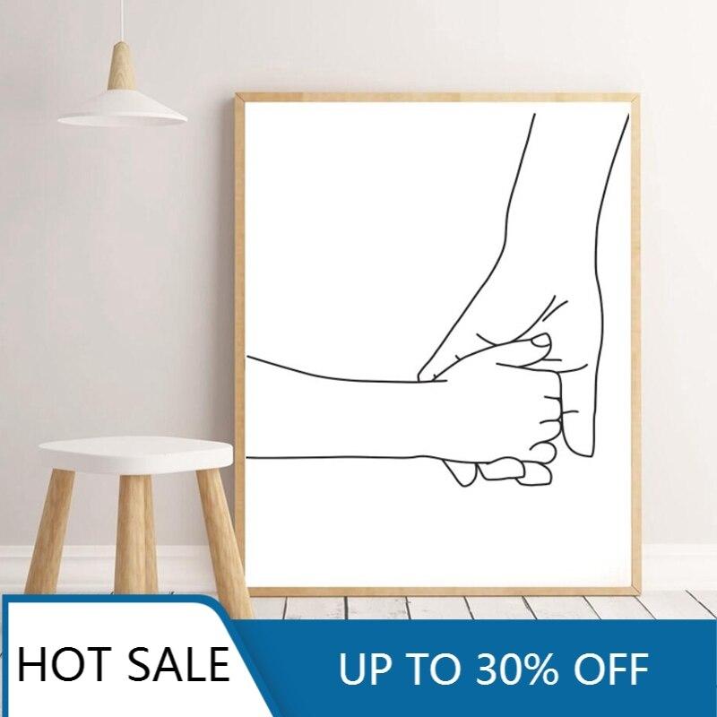 Минималистский Линии Настенный художественный холст картина, печатный плакат рука об руку мама ребенок руки Детская стены декора Love Семья номер Декор