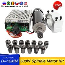 Free shipping 500w Air cooled spindle Motor +13pcs ER11 chuck + 52mm clamps + Power Supply speed governo