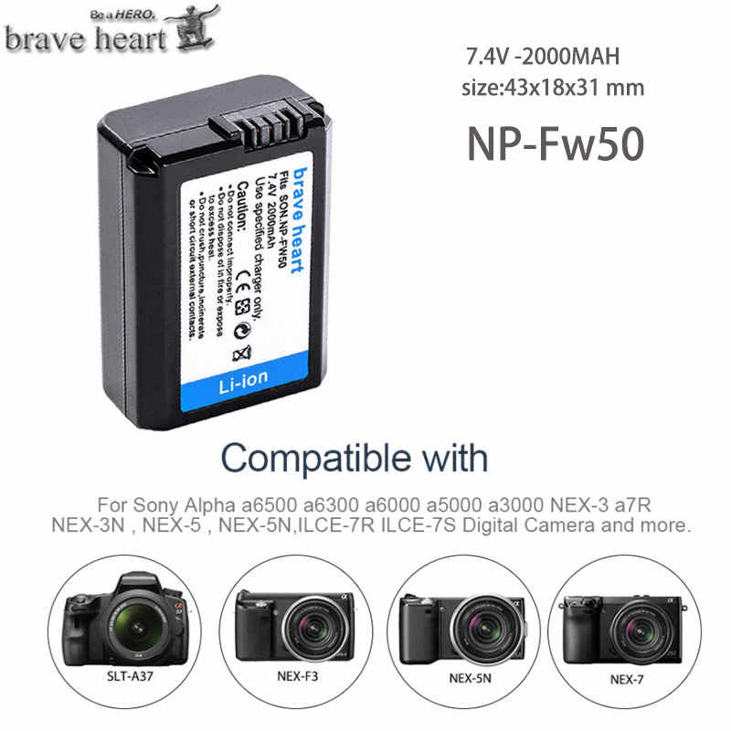 4 Uds 2000mAh NP-FW50 NP FW50 batería + LED cargador Dual USB para Sony Alpha a6500 a6300 a7 7R a7R a7R II a7II NEX-3 NEX-3N NEX-5